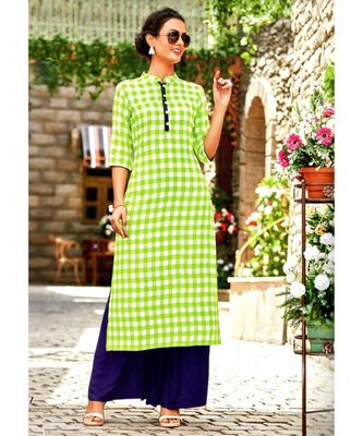 green rayon long kurtis