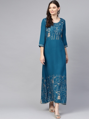 Blue printed liva long-kurtis