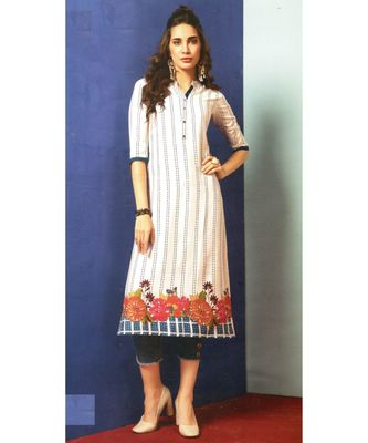 White Rayon Long Kurtis