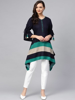 Navy-blue plain liva short-kurtis