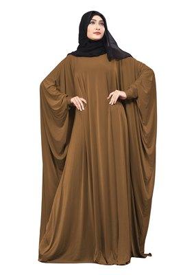 Justkartit Choco Color Plain Free Size Arabic Lycra Abaya With Chiffon Hijab Scarf For Women