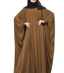 Justkartit Choco Color Plain Free Size Arabic Lycra Abaya With Chiffon Hijab Scarf For Women