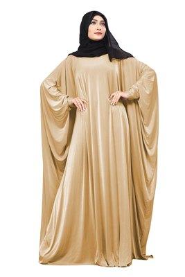 Justkartit Light Beige Color Plain Free Size Arabic Lycra Abaya With Chiffon Hijab Scarf For Women