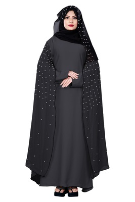 Justkartit Metallic Grey Color Nida + Chiffon Abaya Burka With Hijab Scarf For Women