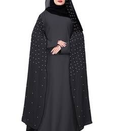 Justkartit Metallic Grey Color Nida + Chiffon Abaya Burka With Hijab Scarf For Women