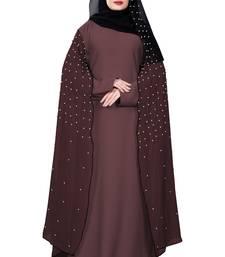 Justkartit Salmon Color Nida + Chiffon Abaya Burka Wth Hijab Scarf For Women