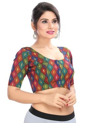 Women's Multicolor Brocade Readymade Padded Saree Blouse