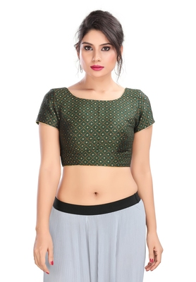 Women's Bottle Green Brocade Readymade Padded Saree Blouse
