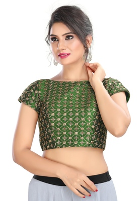 Women's Bottle Green cotton Readymade Padded Saree Blouse