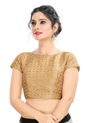Women's Gold cotton Readymade Padded Saree Blouse