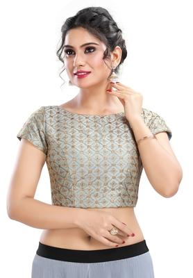 Women's Grey cotton Readymade Padded Saree Blouse