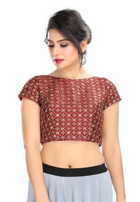 Women's Maroon cotton Readymade Padded Saree Blouse