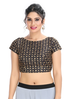 Women's Navy Blue cotton Readymade Padded Saree Blouse