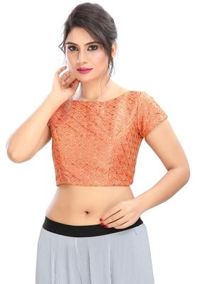 Women's Peach cotton Readymade Padded Saree Blouse