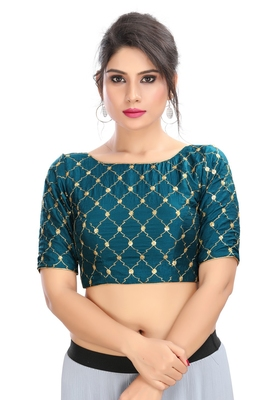 Women's Peacock Blue  cotton Readymade Padded Saree Blouse