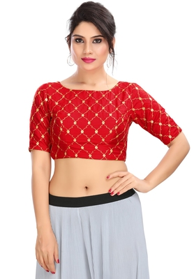 Women's Red cotton Readymade Padded Saree Blouse
