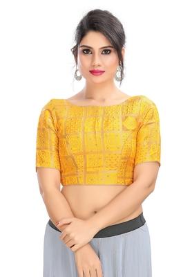 Women's Yellow Brocade Readymade Padded Saree Blouse