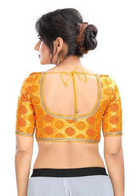 Women's Yellow Brocade Readymade Padded Saree Blouse