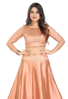 Women's Peach cotton Readymade Padded Saree Blouse