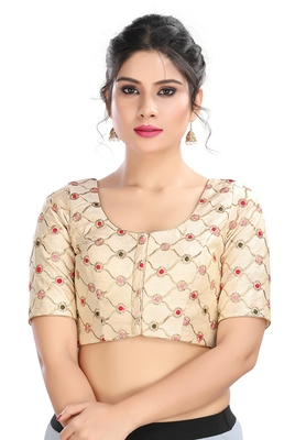 Women's Off White cotton Readymade Padded Saree Blouse