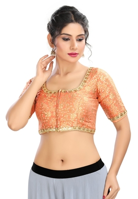 Women's Peach Brocade Readymade Padded Saree Blouse