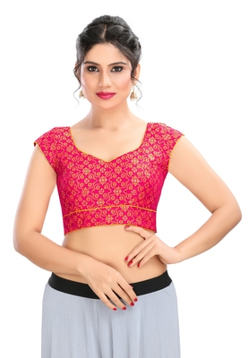 Women's Pink Brocade Readymade Padded Saree Blouse