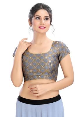 Women's Grey Brocade Readymade Padded Saree Blouse