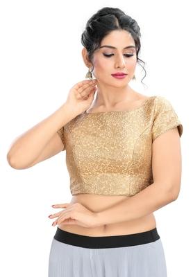 Women's Gold Brocade Readymade Padded Saree Blouse