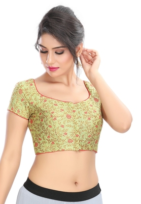 Women's Pastel Green Brocade Readymade Padded Saree Blouse