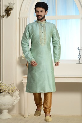 Green Stylish Silk Kurta Set