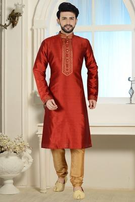 Red Stylish Silk Kurta Set