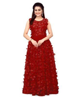 Women's Net Embroidery maroon Gown