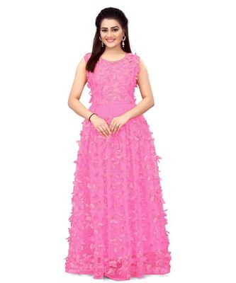 Women's Net Embroidery peach Gown