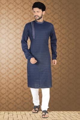 Blue stylish embroidery kurta set