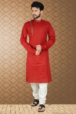 red stylish embroidery kurta set