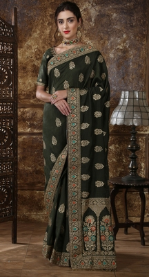 Olive Green Full Embroidered With Cutdana and Stone Work Silk saree with blouse