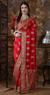 Red Full Embroidered With Stone Work silk saree with blouse