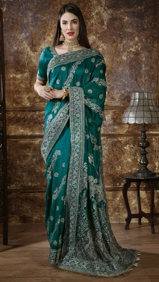 Teal Green Full Embroidered With Stone Work Silk saree with blouse