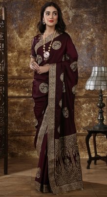 Maroon Full Embroidered With Stone Work Silk saree with blouse
