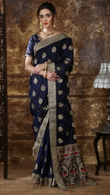 Navy blue Full Embroidered With Stone Work Silk saree with blouse