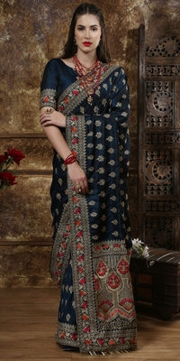 Teal Blue Full Embroidered With Cutdana And Stone Work Silk Saree With Blouse