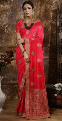 Dark pink Full Embroidered With Stone Work Silk saree with blouse