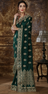 Dark green Full Embroidered With Stone Work Silk saree with blouse