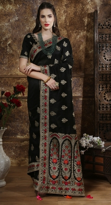 Black Full Embroidered With Stone Work Silk Saree With Blouse