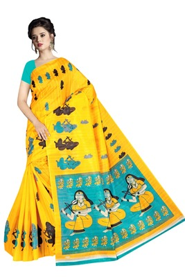 multicolor printed art silk sarees saree with blouse