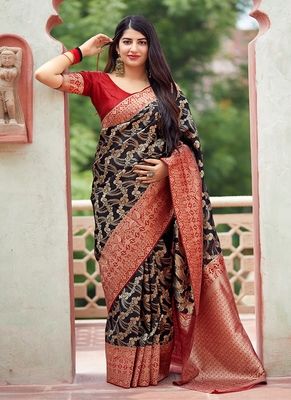 Black woven banarasi silk saree with blouse