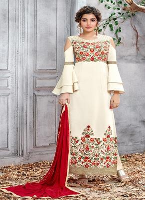 Cream embroidered silk salwar