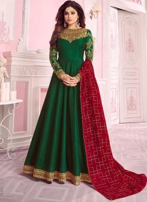 Green embroidered silk salwar