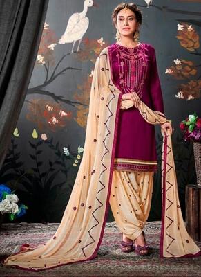 Wine embroidered cotton salwar