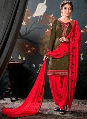 Mehendi embroidered cotton salwar